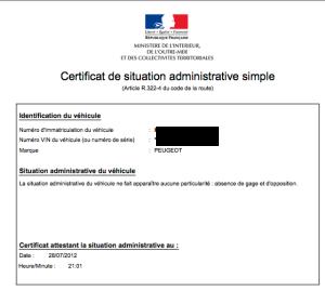 certificat de non gage
